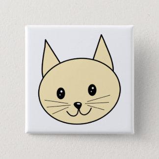 Bóton Quadrado 5.08cm Gato ambarino pálido da cor