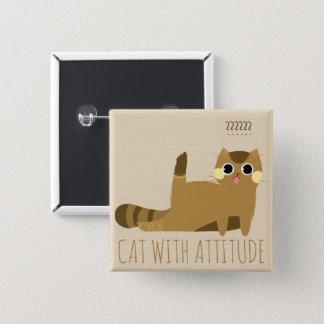Bóton Quadrado 5.08cm Gato com atitude