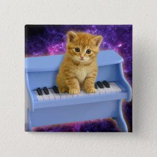 Bóton Quadrado 5.08cm Gato do piano