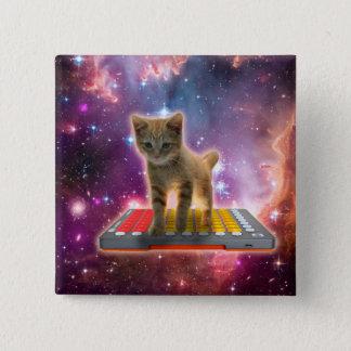 Bóton Quadrado 5.08cm gato do teclado - gato de gato malhado - gatinho