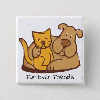 Bóton Quadrado 5.08cm Gato e cão dos amigos | da Pele-Nunca junto