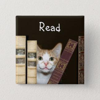 Bóton Quadrado 5.08cm Gato e livros