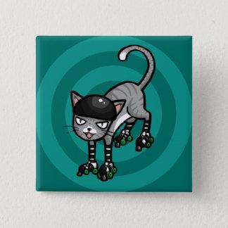 Bóton Quadrado 5.08cm Gato malhado de prata em RollerSkates