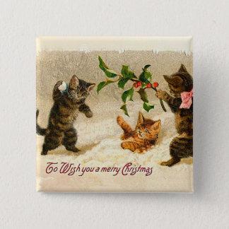 Bóton Quadrado 5.08cm Gatos que jogam no natal vintage da neve