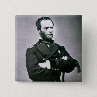 Bóton Quadrado 5.08cm General William T. Sherman (1820-91) (foto de b/w)