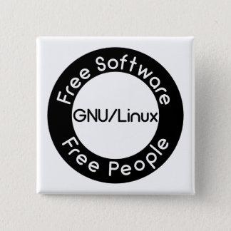 Bóton Quadrado 5.08cm GNU/Linux