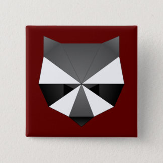 Bóton Quadrado 5.08cm Guaxinim poligonal