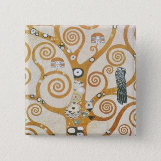 Bóton Quadrado 5.08cm Gustavo Klimt a árvore da arte Nouveau da vida