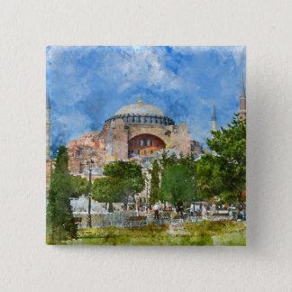 Bóton Quadrado 5.08cm Hagia Sophia em Sultanahmet, Istambul