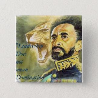 Bóton Quadrado 5.08cm Haile Selassie mim: Citações: Liderança, botão