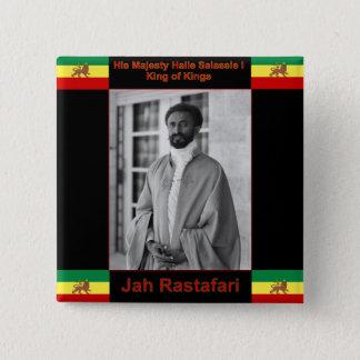 Bóton Quadrado 5.08cm Haile Selassie o leão de Judah, Jah Rastafari