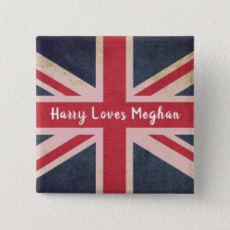 Bóton Quadrado 5.08cm Harry AMA o botão real do quadrado do casamento de