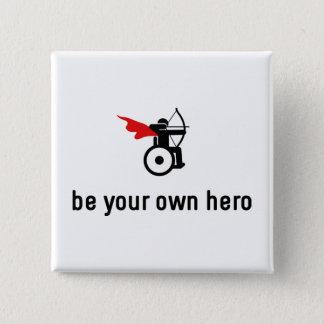 Bóton Quadrado 5.08cm Herói do tiro ao arco da cadeira de rodas