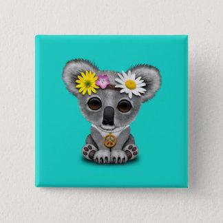 Bóton Quadrado 5.08cm Hippie bonito do Koala do bebê