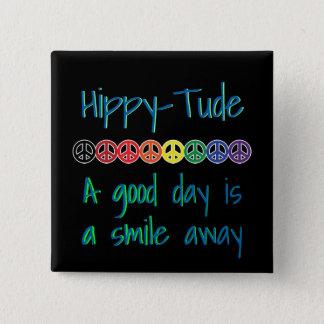 Bóton Quadrado 5.08cm HippyTude uma paz do arco-íris do bom dia