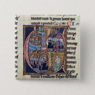 "Bóton Quadrado 5.08cm Historiated rubrica ""C"" que descreve Conrad III"