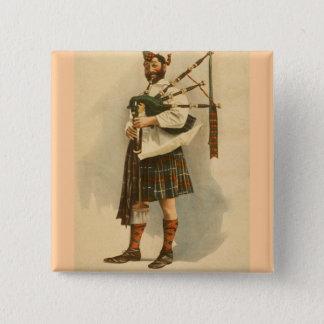 Bóton Quadrado 5.08cm Homem escocês do Kilt do jogador do BagPipe das