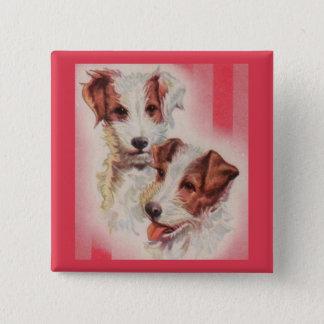 Bóton Quadrado 5.08cm Ilustração BONITO dos terrier de Jack Russell