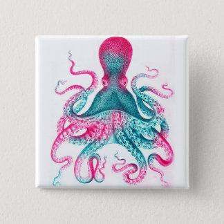 Bóton Quadrado 5.08cm Ilustração do polvo - vintage - kraken