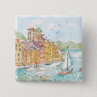 Bóton Quadrado 5.08cm Ilustração do porto de Porofino com veleiro