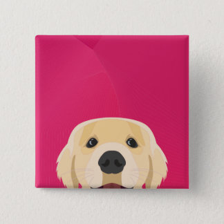 Bóton Quadrado 5.08cm Ilustração Retriver dourado com fundo cor-de-rosa