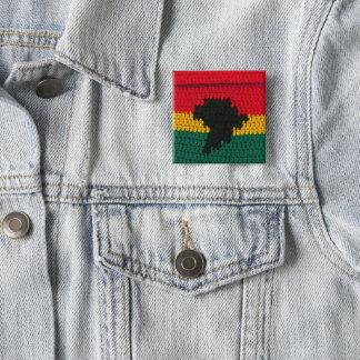 Bóton Quadrado 5.08cm Impressão africano do Crochet das cores do mapa de