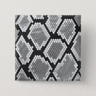 Bóton Quadrado 5.08cm Impressão das cinzas, do branco e do preto do