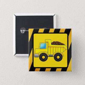 Bóton Quadrado 5.08cm Impressão do carro do caminhão da construção