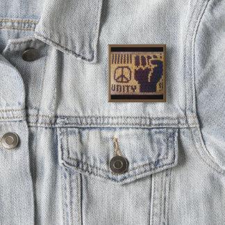 Bóton Quadrado 5.08cm Impressão do Crochet do punho da unidade do sinal