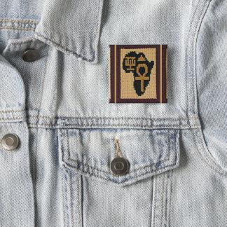 Bóton Quadrado 5.08cm Impressão do Crochet do símbolo de Ankh África