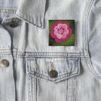 Bóton Quadrado 5.08cm Impressão rosado do Crochet do verde da flor no