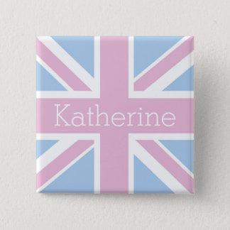 Bóton Quadrado 5.08cm Ingleses inspiraram Union Jack cor-de-rosa e azul