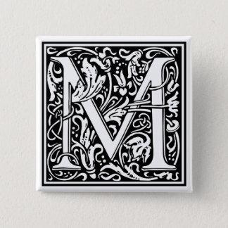 """Bóton Quadrado 5.08cm Inicial decorativa """"M"""" da letra"""