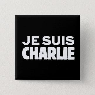 Bóton Quadrado 5.08cm Je Suis Charlie-Eu am Charlie-Branco no preto