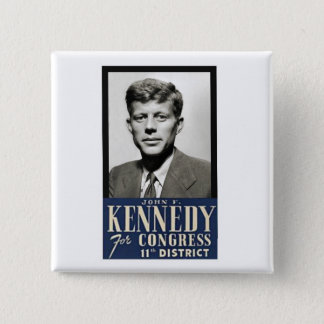 Bóton Quadrado 5.08cm John F. Kennedy para o congresso