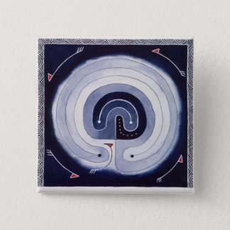 Bóton Quadrado 5.08cm Labirinto pintado