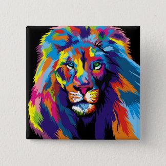 Bóton Quadrado 5.08cm Leão colorido