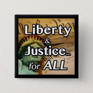 Bóton Quadrado 5.08cm Liberdade & justiça… para TUDO