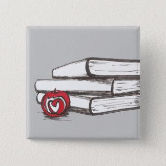 Bóton Quadrado 5.08cm Livros + Um Pin | de Apple | customizável