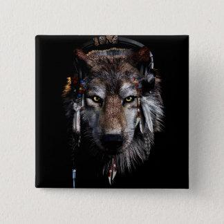 Bóton Quadrado 5.08cm Lobo indiano - lobo cinzento