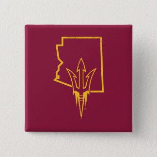 Bóton Quadrado 5.08cm Logotipo clássico do estado de ASU |