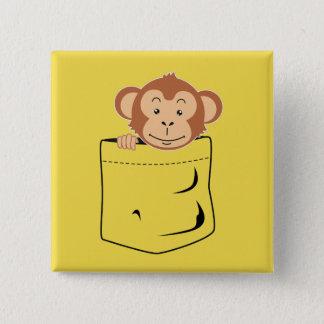 Bóton Quadrado 5.08cm Macaco no bolso