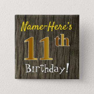 Bóton Quadrado 5.08cm Madeira do falso, aniversário do ouro do falso 11o