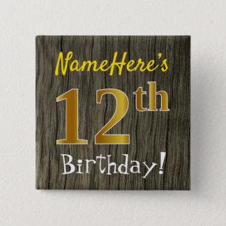 Bóton Quadrado 5.08cm Madeira do falso, aniversário do ouro do falso 12o