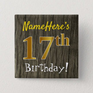 Bóton Quadrado 5.08cm Madeira do falso, aniversário do ouro do falso 17o