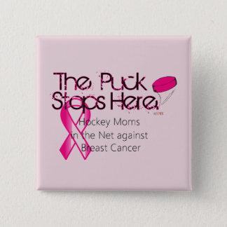 Bóton Quadrado 5.08cm Mães na rede - botão do hóquei do cancro da mama