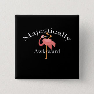 Bóton Quadrado 5.08cm Majestosa inábil Introverts o flamingo cor-de-rosa