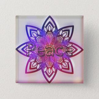Bóton Quadrado 5.08cm Mandala. da flor da paz