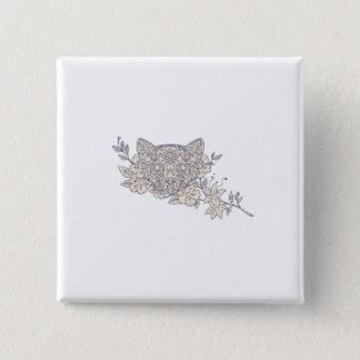 Bóton Quadrado 5.08cm Mandala principal da flor do jasmim do gato