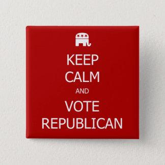 Bóton Quadrado 5.08cm Mantenha a calma e vote o botão republicano